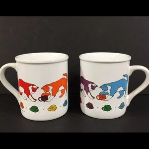 2 Vintage 1984 Current Mugs Cats Playing with Yarn